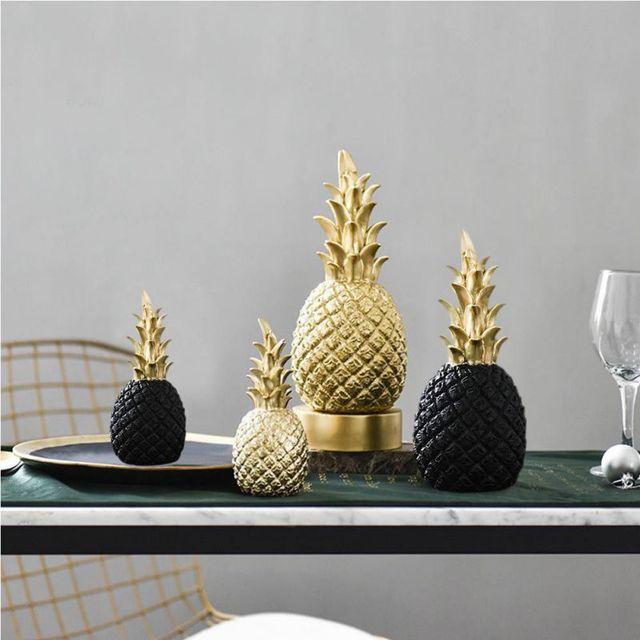 Nordic Modern Home Decor Golden Pineapple Creative Wine Cabinet Window Desktop Display Props Home Decoration Accessories 1