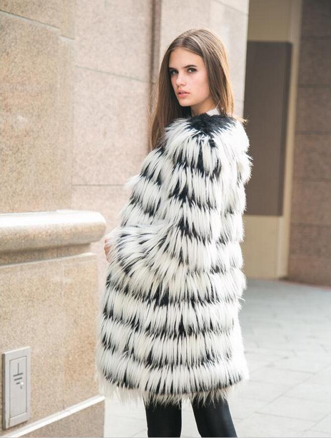 Couture États Manteau Blanc Imitation unis Noir Fourrure L'europe Section Mode Les Longue De Femmes 2017 Et tWqwT1On6