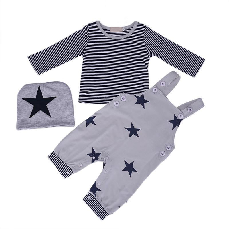 3pcs/set Baby Boy Clothes Kids Striped Tops Star Strap Belt Pants Cap Long Sleeve Clothing for Children 12 to 36 month t shirt tops long pants outfits set cotton clothing cute 2pcs children kids baby boy girls clothes set