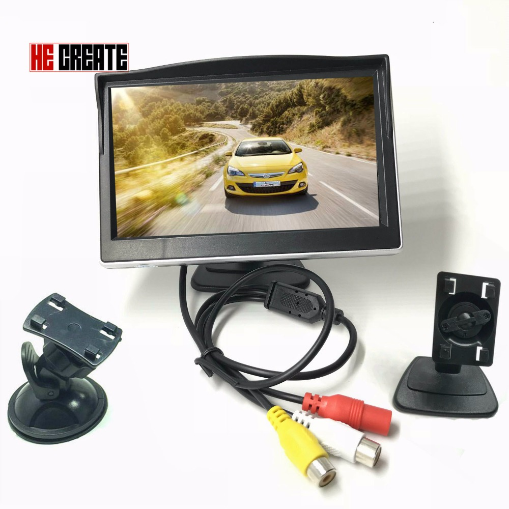 HE CREATE 5 Car Monitor TFT LCD Screen 2 Mounts/Brackets Optional Video Input HD Digital Colorful For Rear View Reverse Camera