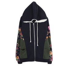 Discount woman sweatershirts during the spring and autumn winter fashion new printing built successively cap fleece dress