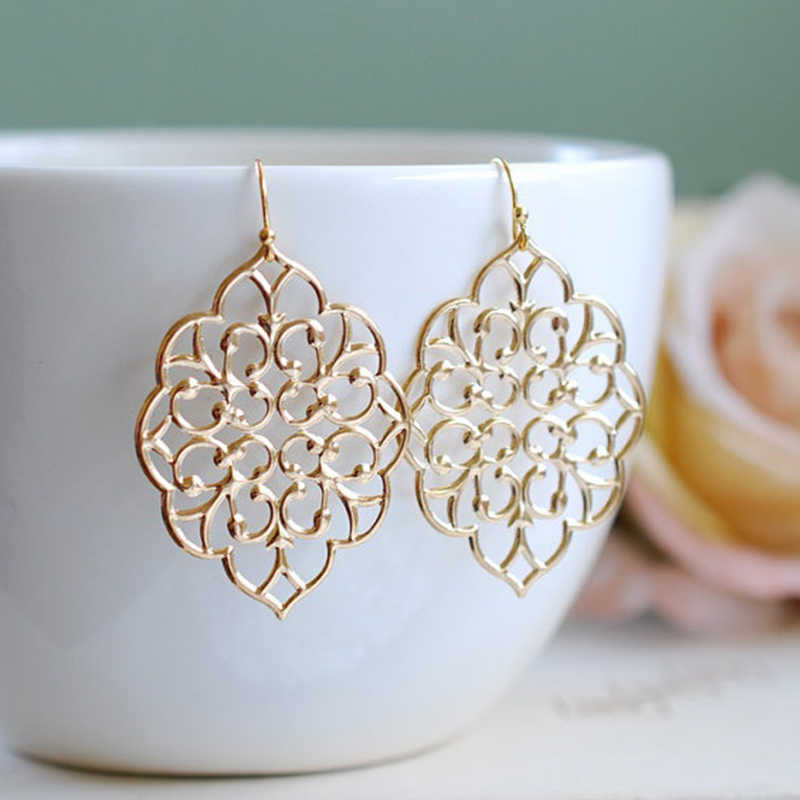 Women Silver/Gold Chic Bohemian Moroccan Wedding Party Filigree Openwork Earrings Fashion Jewelry Hot 2018 gift tassel earrings