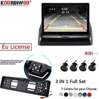 Koorinwoo Car Parking Sensors Kit Vehicle Europe License Plate Frame Rear view Camera Car Parking Monitor 4 Radars System Video