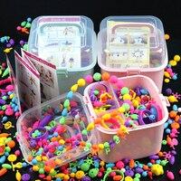 550PCS Fashion Pop Snap Beads Kit Reusable DIY Necklace Bracelet Ring Toddler Art & Crafts Creativity Toys