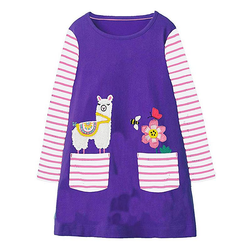 Baby Girl Clothes Autumn Winter 2018 Brand Toddler Girls Dresses with Animal Applique Long Sleeve Princess Dress Kids Clothing 2016 toddler flower girl dress winter children girl clothing autumn kid clothes brand long sleeve princess party wedding vintage