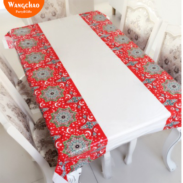 Muslim EID Disposable TableCloths Ramadan Table Cover Tablecloth Waterproof For Moslem Islamism Decoration 180*110cm 3 Styles