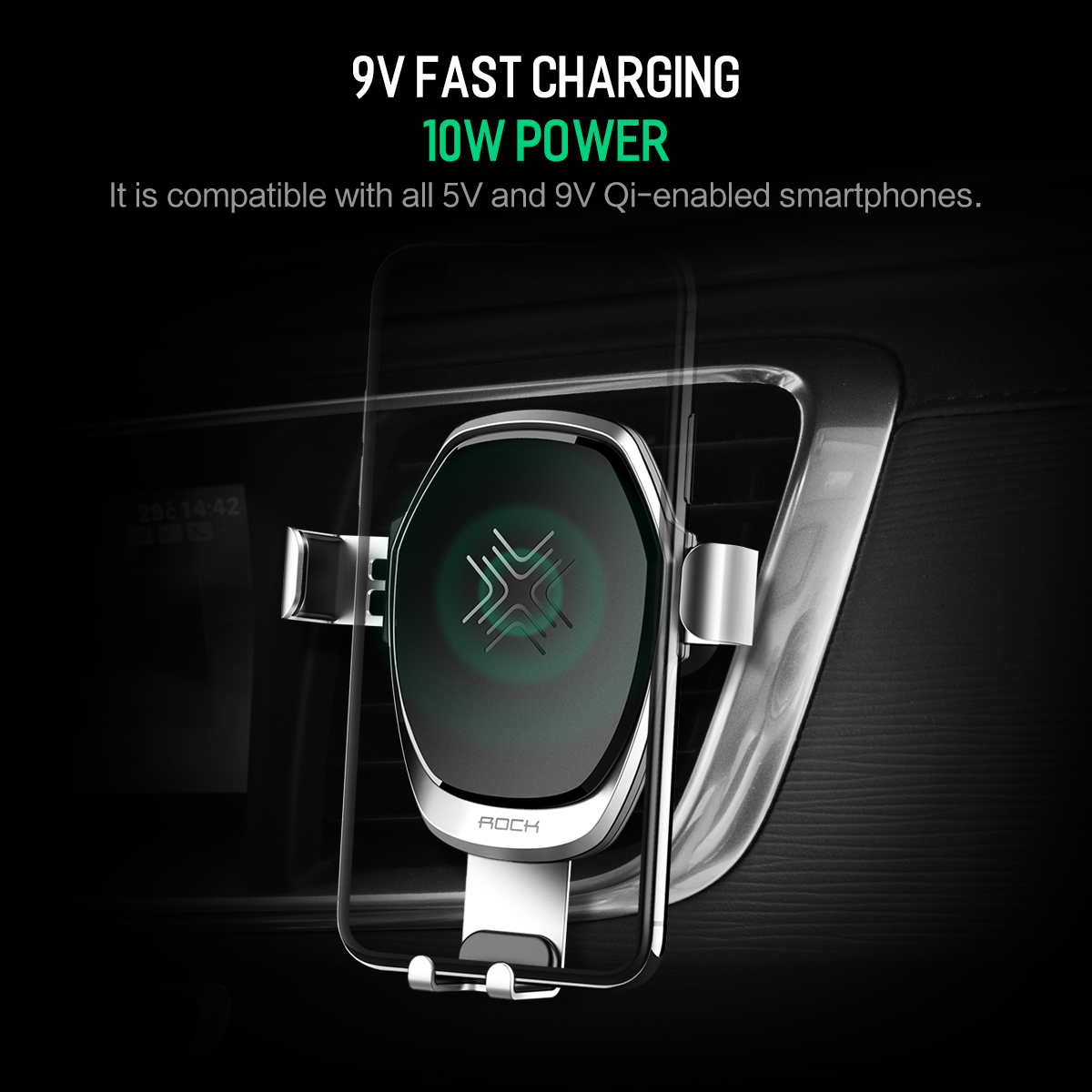 HTB1VkSKdi6guuRkSmLyq6AulFXac - 10W QI Wireless Car Charger Gravity Holder , ROCK for iPhone X 8 Plus Samsung Galaxy S8 S7 Note 8 Quick Charge Charging Stand