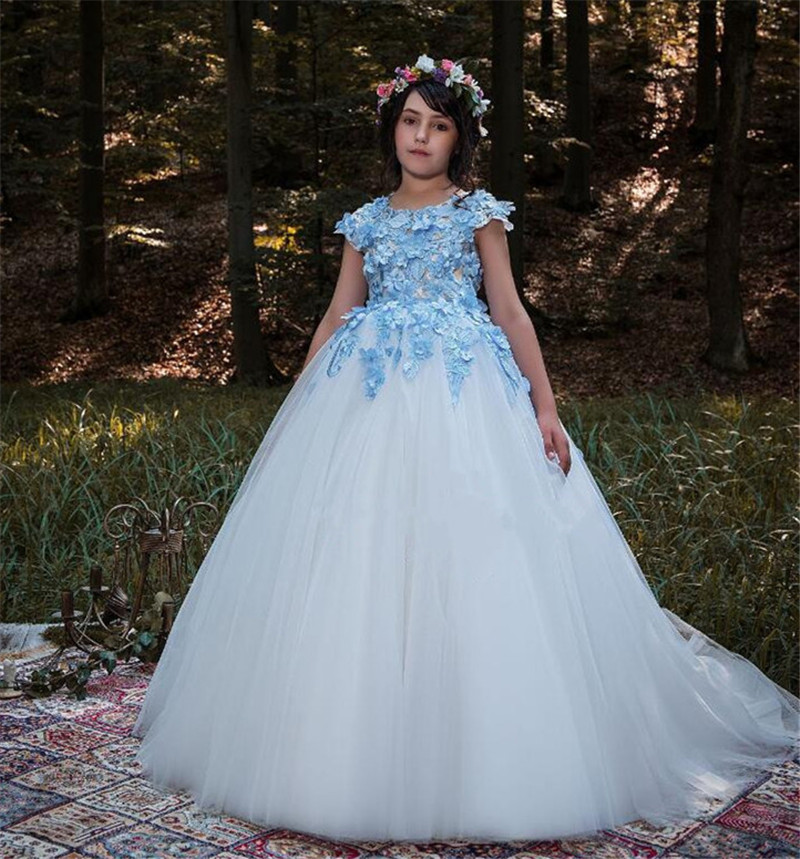 High Quality 3D Appliques Lace Top Girls Dresses For Wedding Kids Pageant Dress O Neck Girls Birthday Dress Puffy Tulle Size2-16