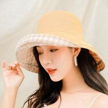 Women Bucket Hats Double-sided Solid All-match Wide Brim Korean Style Ladies Elegant Summer Sun Shading Hat Plaid Fisherman