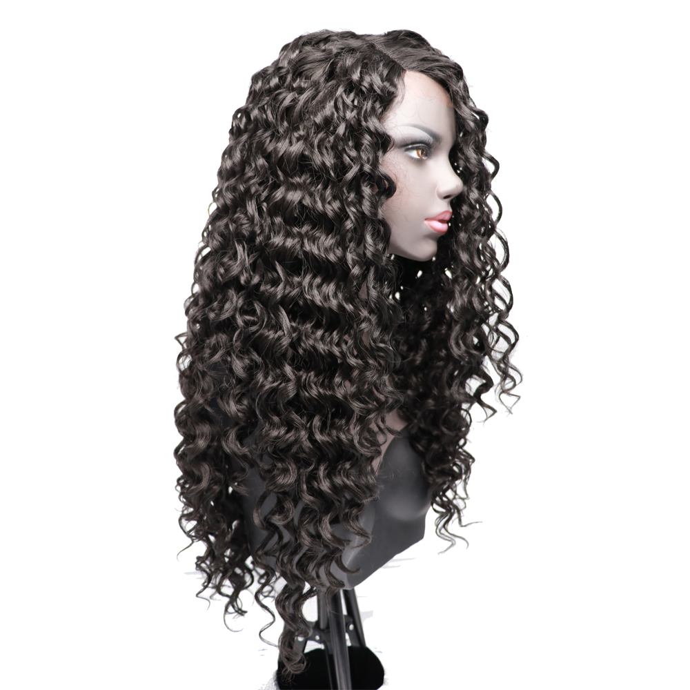 COLODO Heat Resistant Curly Lace Wig Natural Black Color L Side Part Glueless Synthetic Lace Front Wig For Black Women