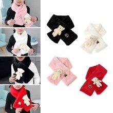 Милый детский шарф, модные детские шарфы из искусственного меха, милый медведь, теплая зимняя мягкая шаль для детей, аксессуары для детской одежды
