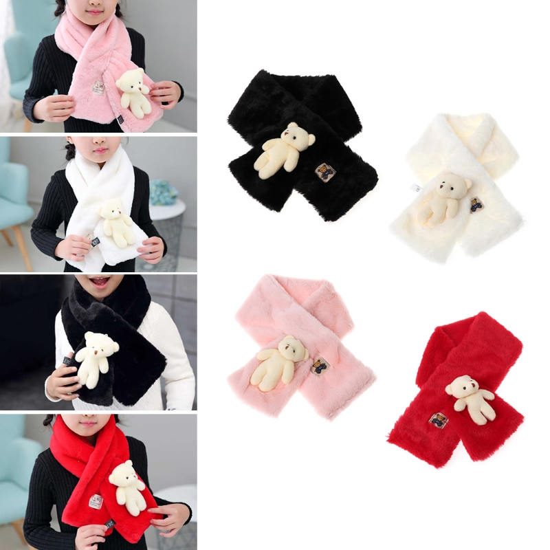 Lovely Baby   Scarf   Fashion Faux Fur Children   Scarves   Cute Bear Warm Winter Soft Shawl   Wrap   For Kids Clothes Accessory