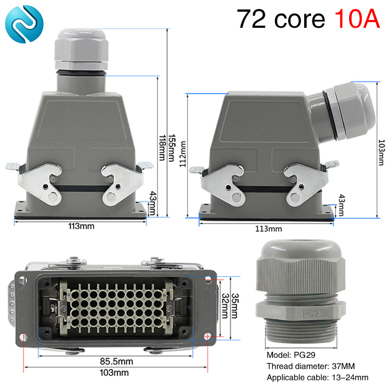 Heavy duty connector 72-core rectangular cold-pressed hdc-hdd-072 aviation plug socket industrial waterproof plug 10A beverley box beverley box be064ameym64