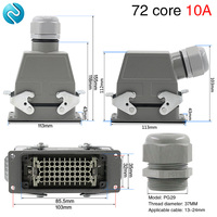 Heavy duty connector 72 core rectangular cold pressed hdc hdd 072 aviation plug socket industrial waterproof plug 10A
