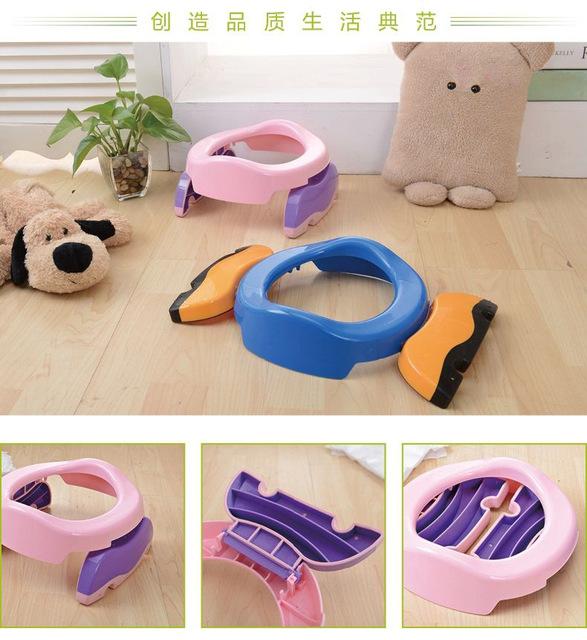 2016 Novo Treinamento do Toalete Penicos Bebê Infantil Portátil Dobrável Anéis de assento Potty com saco de urina Para Crianças Azul Rosa cor
