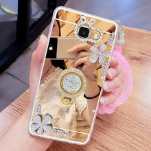 Luxury Rhinestone Phone Case cover For Samsung Galaxy A7 2016 A7100 A710F TPU Case Finger Rotated Ring Holder Stand mirror case