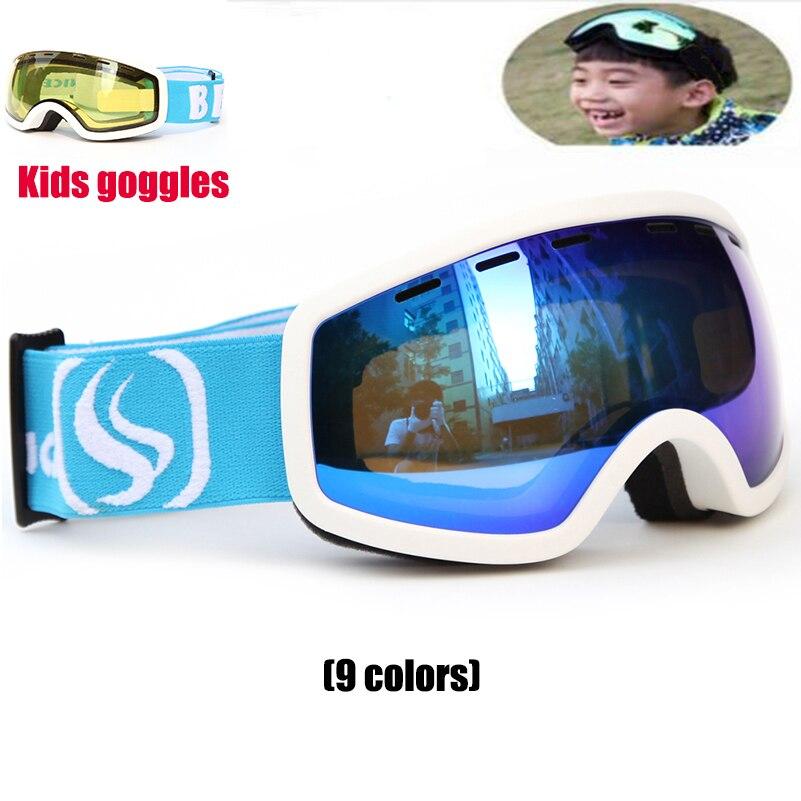 New Snowboard goggles Kids Double Lens UV400 Anti fog Ski Snow Glasses Child Skiing Mask Winter