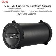 Akaso multifu deep bass Inalámbrico Altavoz Bluetooth banco de la energía 10 W Gran Potencia de Alta Fidelidad Subwoofer Caja de Sonido USB Portátil Estéreo