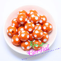 Free Shipping 100PCS/Lot Orange 20MM Resin Polka Dot Beads, Resin Round Chunky Beads for Chunky Necklace Jewelry