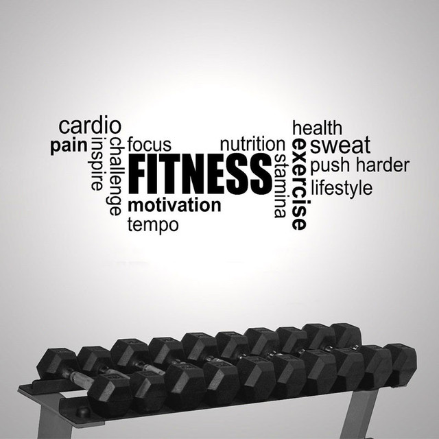 Fitness Gym Exercise Word Cloud Modern Interior Wall Sticker Quotes ...