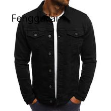 2019 Мужская Джинсовая Куртка Высокого Качества Модные Джинсовые Куртки Тонкий Повседневная Уличная