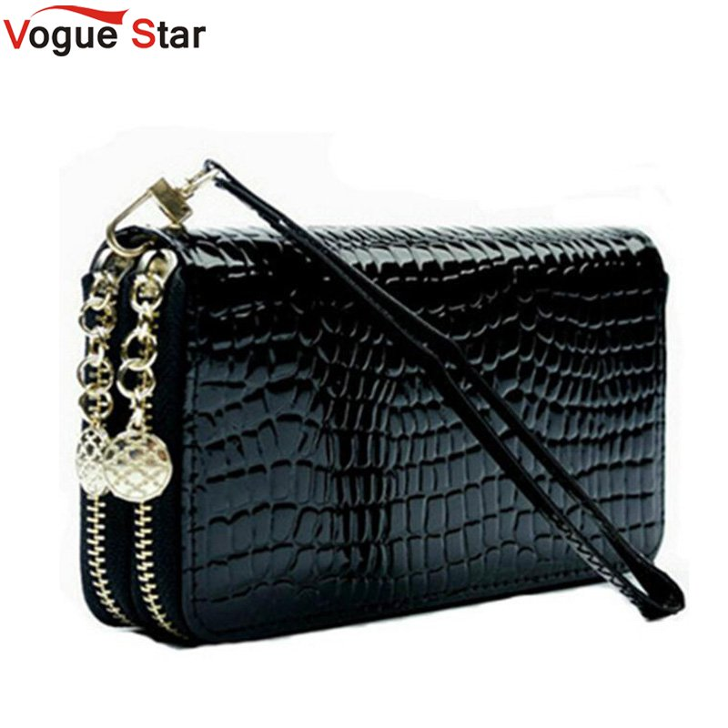 2019 High Quality Black Purse Women Leather Purses Wallets Luxury Brand Wallet Double Zipper Day Clutch Coin Card Bag LB203