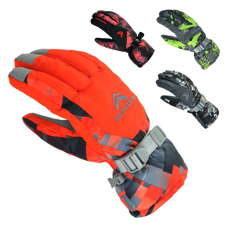 WILD SNOW Ski Gloves Winter Outdoor Waterproof Windproof Breathable Upset Keep Warm Gloves Men's Snowmobile Snowboard Ski gloves