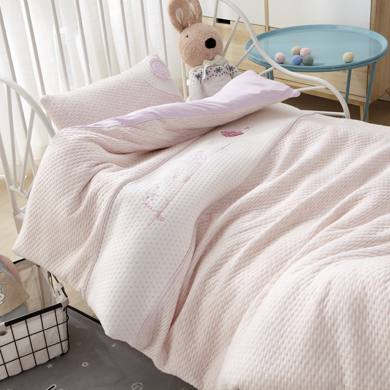 Pink Solid Color 7Pcs Baby Bedding Set For Crib Newborn Baby Bed Linens For Girl Boy Detachable Cot Sheet Quilt Pillow Including