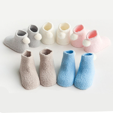 3Pairs thick warm baby socks autumn and winter new 0-1-3 year baby solid color coral velvet ball newborn toddler floor socks недорого