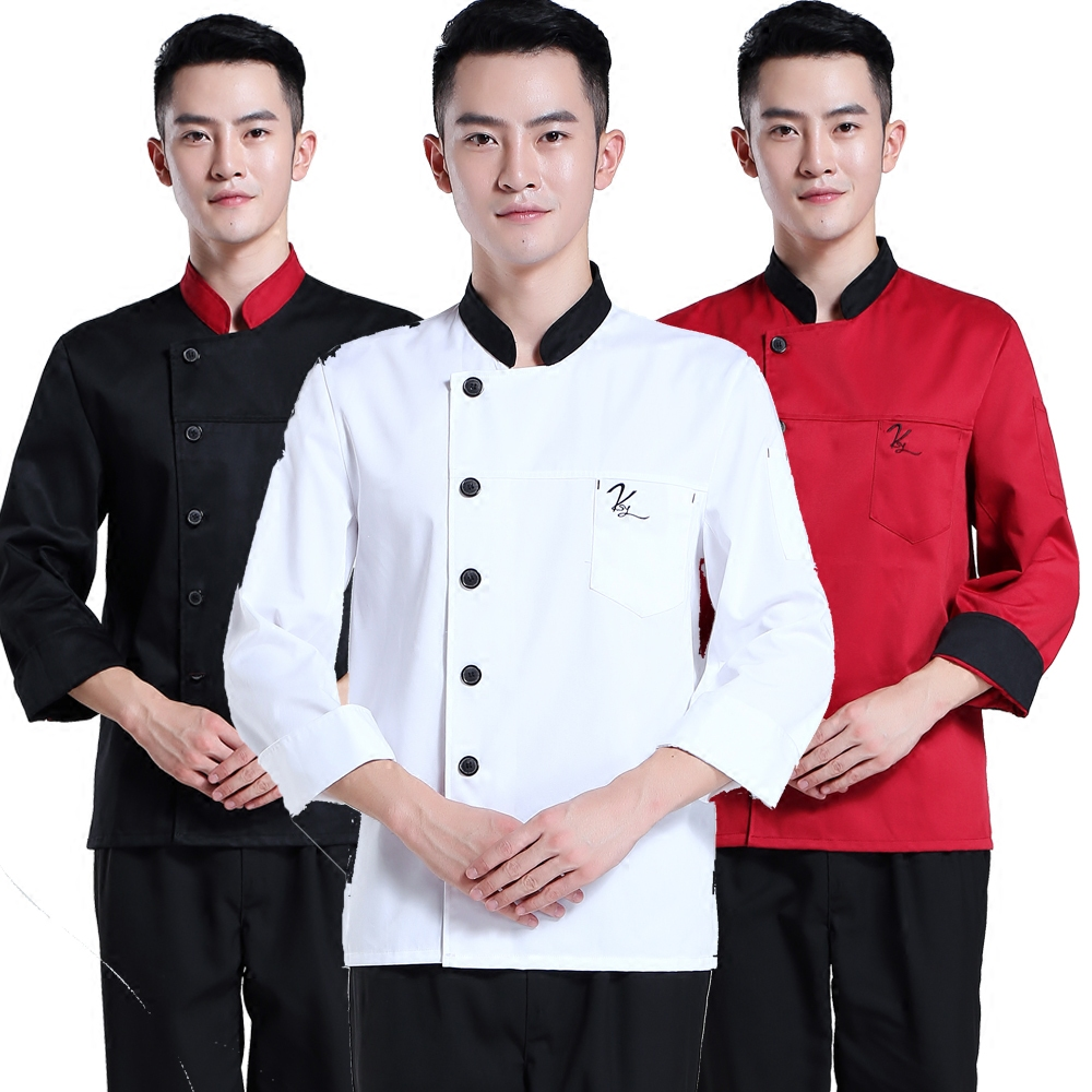 Wysokiej Jakości Z Długim Rękawem Szef Kuchni Zakres Usług Hotel Pracy Nosić Ubrania Robocze Dla Restauracji Oprzyrządowania Jednolite Czarny