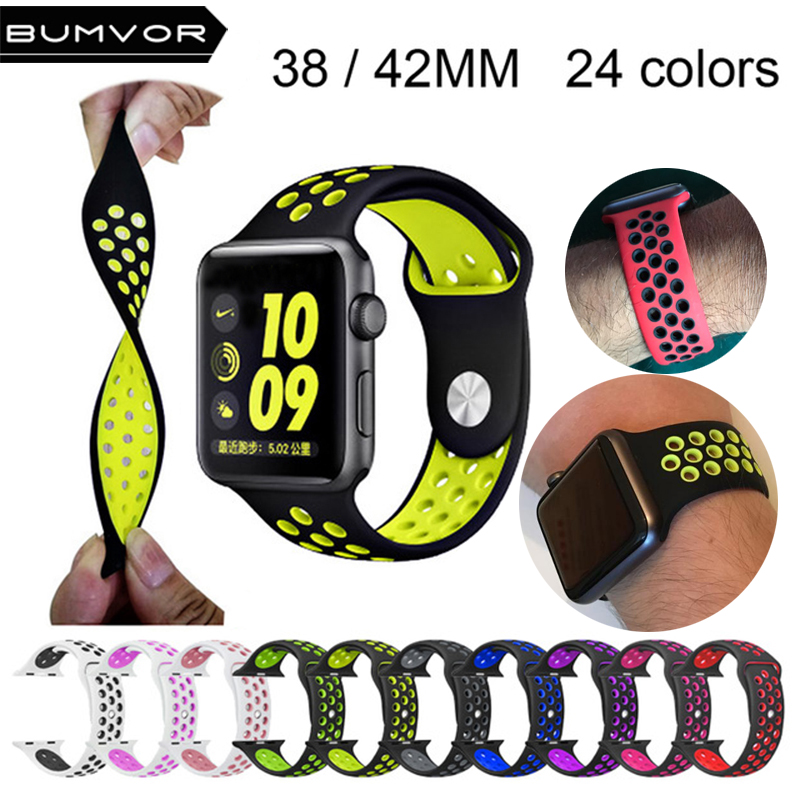 New sport strap for apple watch band 42mm 38mm Silicone watch strap for apple watch iwatch 3/2/1 rubber bracelet watchband eache silicone watch band strap replacement watch band can fit for swatch 17mm 19mm men women