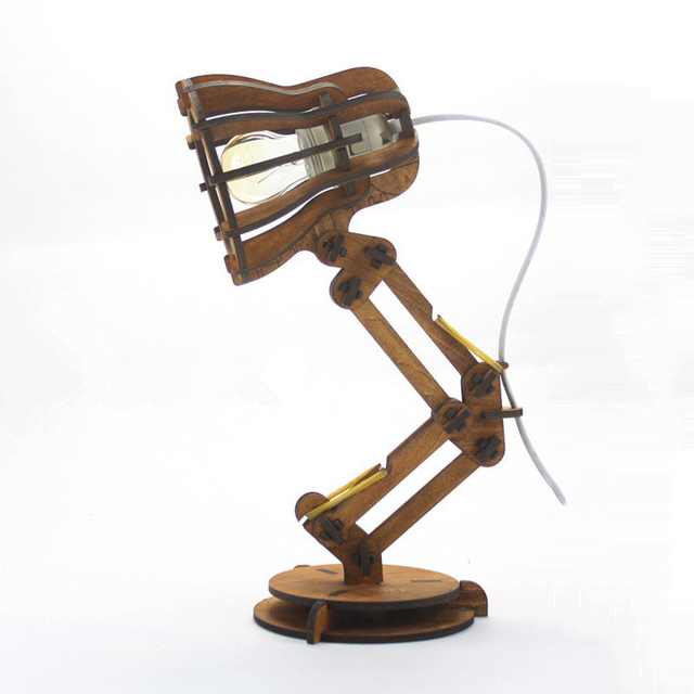 Novelty DIY Wood Vintage Desk Lamp E27 LED Reading Light Table Lamps Home  Decoration Lighting For