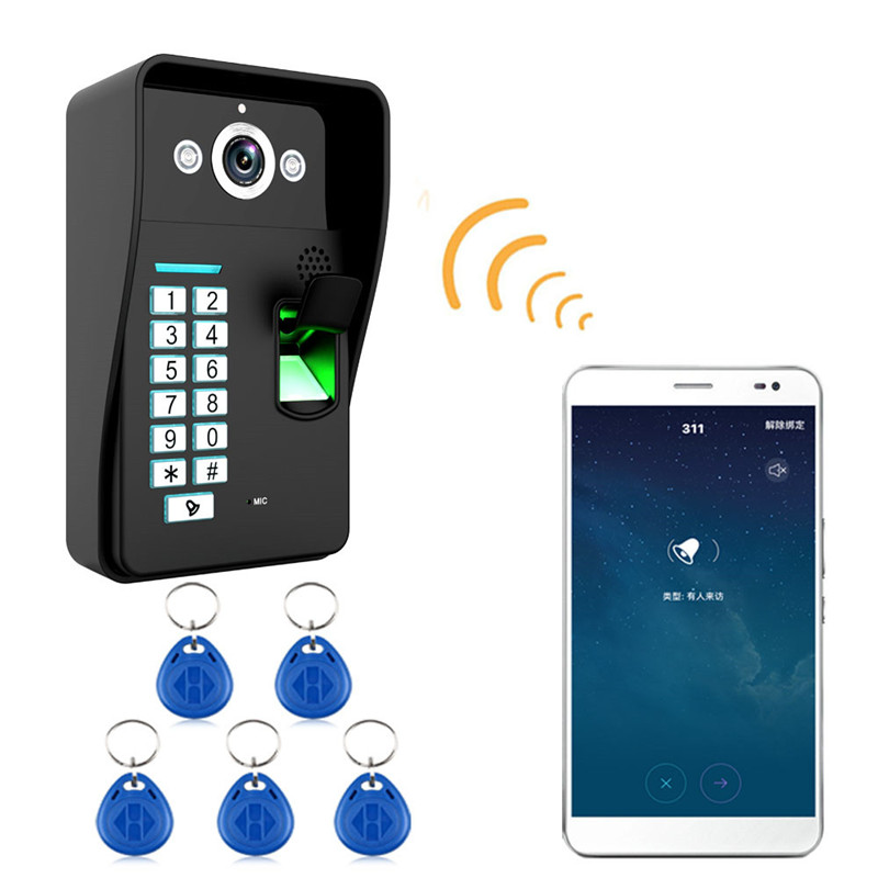 Wireless WIFI Video Door Phone DoorBell IR Camera RFID Fingerprint Card Reader Password Entrance Machine For Intercom System fingerprint recognition wifi wireless video door phone doorbell home intercom system ir rfid camera