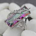Time limited discount Rings Rainbow and White Cubic Zirconia Silver Plated R772 size 6 7 8 9 Romantic Style Women Jewelry Gift