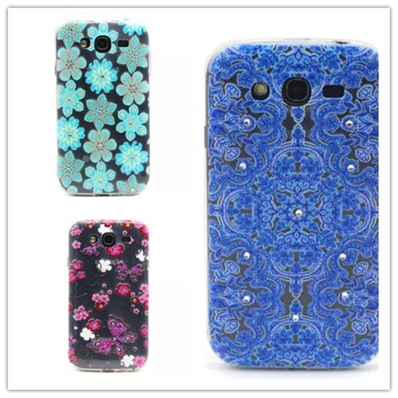 Ultra Slim Crystal Diamond Bling Embossed 3D Funda Coque TPU Soft Phone Case For Samsung Galaxy Grand Neo I9060 Grand Duos I9082