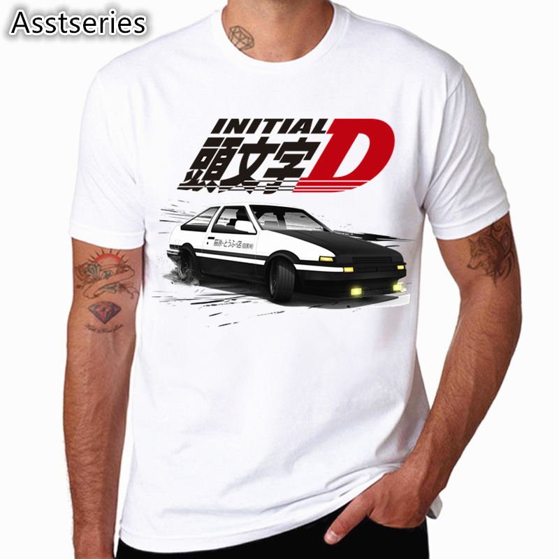 Hombres Imprimir Deriva Anime Japonés Camiseta de Moda Manga Corta O Cuello Verano Fresco Casual AE86 Inicial D Homme camiseta