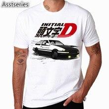 Men Print Drift Japanese Anime Fashion T Shirt Short Sleeves O Neck Summer Cool Casual AE86 Initial