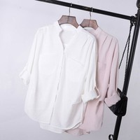 3 COLORS European Style ZA Brand Long Sleeve Double Pockets Solid Cotton Shirts Women Blouse Turn