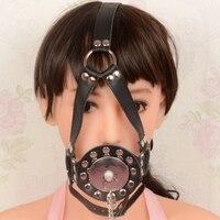 Игры для взрослых черный кожаный регулируемый Фетиш связывание голова жгут открыть рот кляп маска Секс-игрушки для женщины эротического Иг...