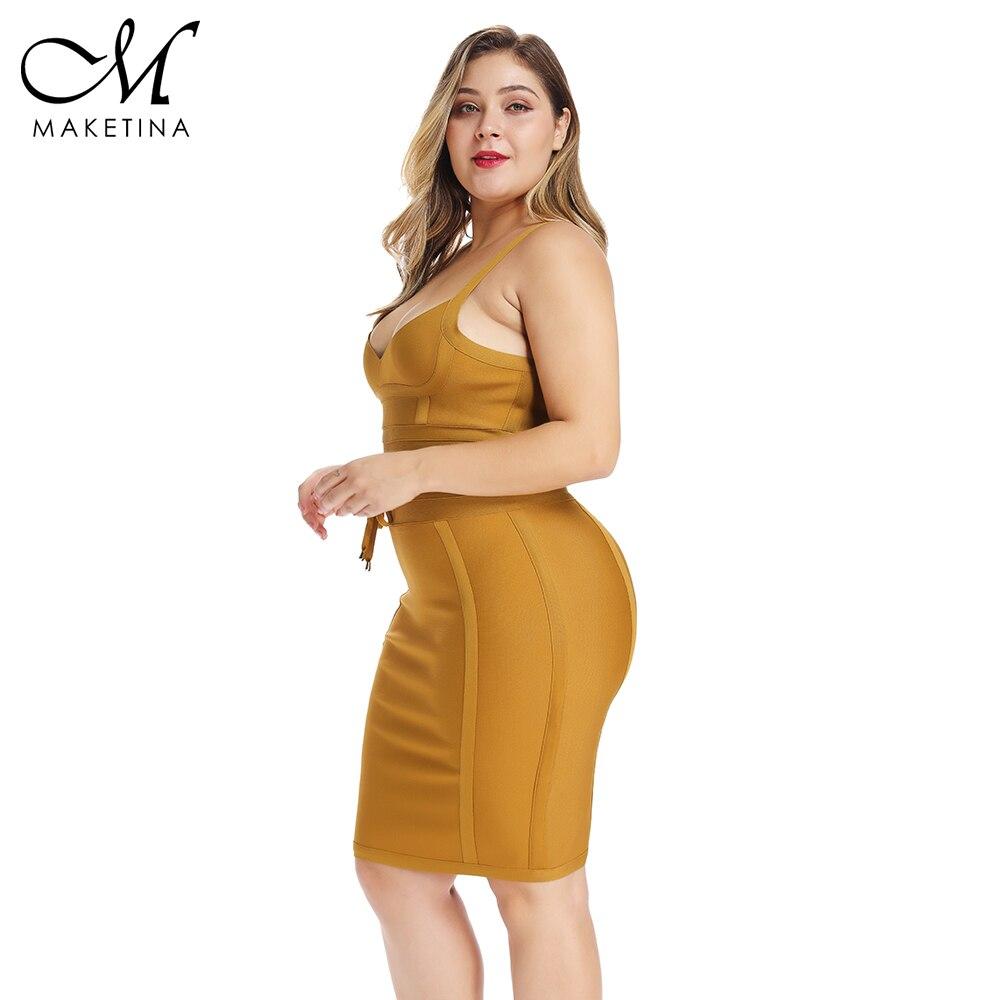 Été 2019 grande taille Bandage robe jaune grande taille moulante Bandage robe Sexy grande taille moulante robe femmes fête Clubwear XL - 3