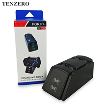 TENZERO Stand Double Handle Wireless Charger LED USB Charging Dock Station Stand For Playstation 4 Controller PS4 Slim Gamepad