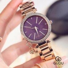 De alta Calidad de La Muchacha Relojes Relogio Feminino Lujo Marca Mujeres se Visten de Oro Acero Inoxidable de Cuarzo Relojes de Diamantes Señora WristWaches