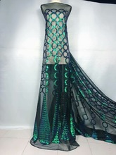 Embroidered lace fabric SU-J08102 with sequins beautiful Nigerian for party dress