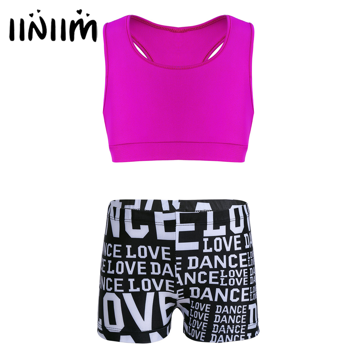 iiniim Girls Tutu Danse Classique Tankini with Letters Printed Bottoms Ballet Dancewear Gymnastics Leotard Shorts Ballerina