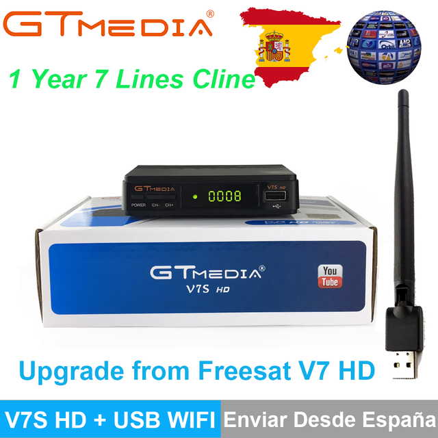 Genuine GTMedia V7S HD DVB-S2 Satellite Receiver Full 1080P +1PC USB WiFi With Stable Europe Ccamd Cline Upgrade From Freesat V7