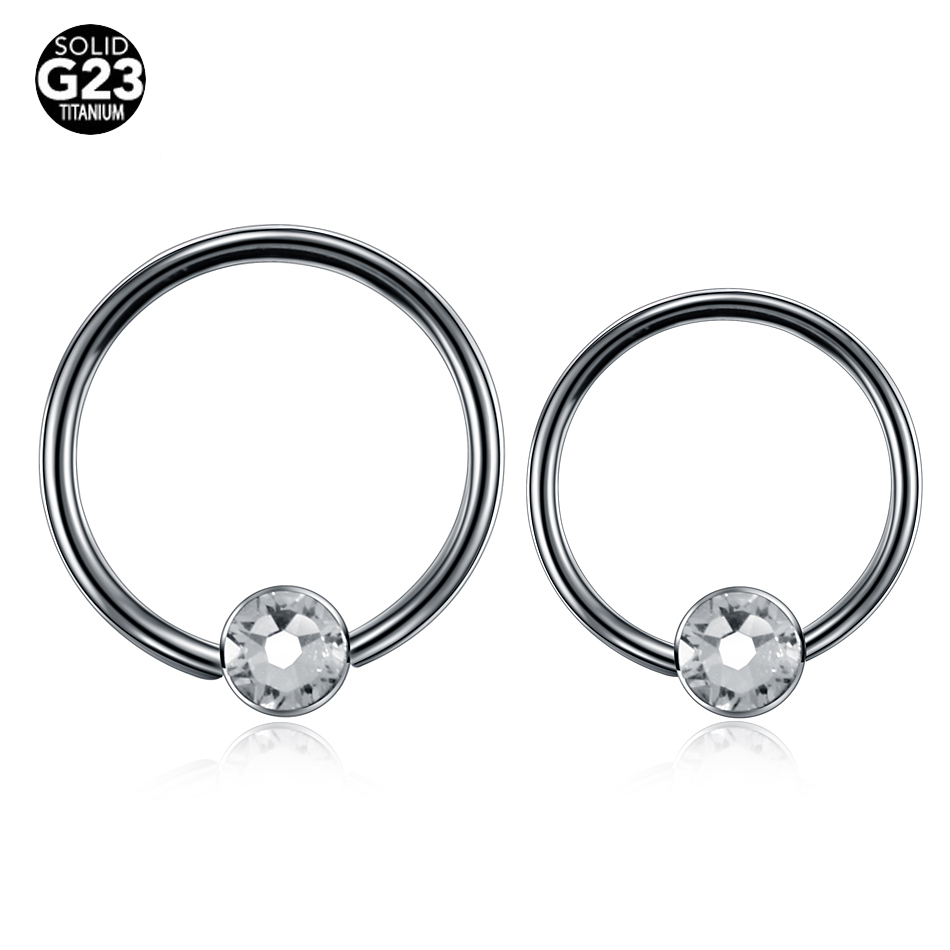 10pcs/lot 16G 100% G23 Titanium Captive Bead Balls Fake Nose Piercing Nose Rings BCR CBR Earrings Nipple Rings Gauges Jewelry