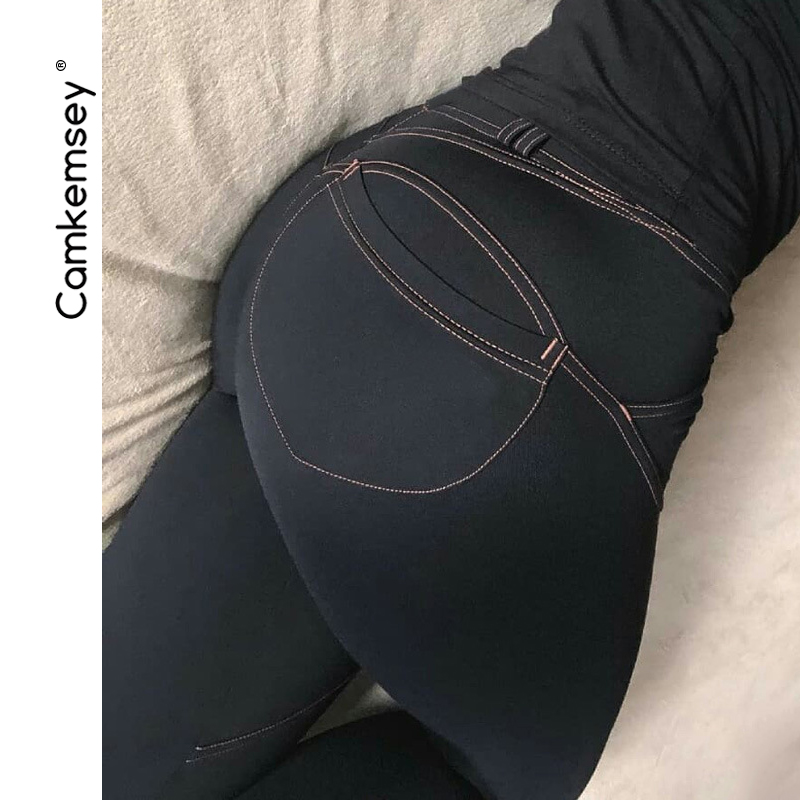 CamKemsey Sexy Peach Buttocks Push Up Bodycon   Pants   Women Fitness Leggings 2018 New High Stretch Skinny Pencil   Pants   &   Capris
