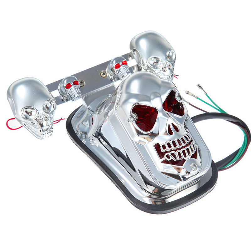 New 12V 20W High Quality Motorcycle Quad ATV Turn Signal & Rear Brake Tail Light Chrome Skull