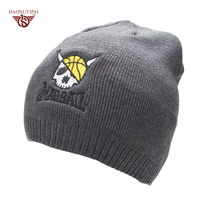 Casual Bonnet Skull Pattern Hat For Men Beanies Basketball Embroidery Knitted Wool Plus Velvet Bone Cap