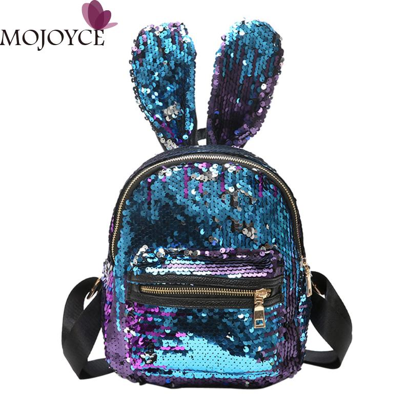 Mini Sequins Backpack Cute Rabbit Ears Shoulder Bag For Women Girls Travel Bag Bling Shiny Backpack Mochila Feminina Escolar New 2017 small fresh mini shoulder bag with three pairs of ears can replace the small backpack cute modeling trend backpack y088
